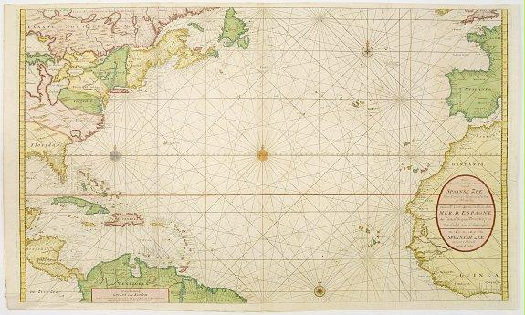 VAN KEULEN, G. -  Nieuwe Wassende Graade Zee Kaart over de Spaanse Zee Vant Kanaal tot 't Eyland Cuba in Westindia. . .