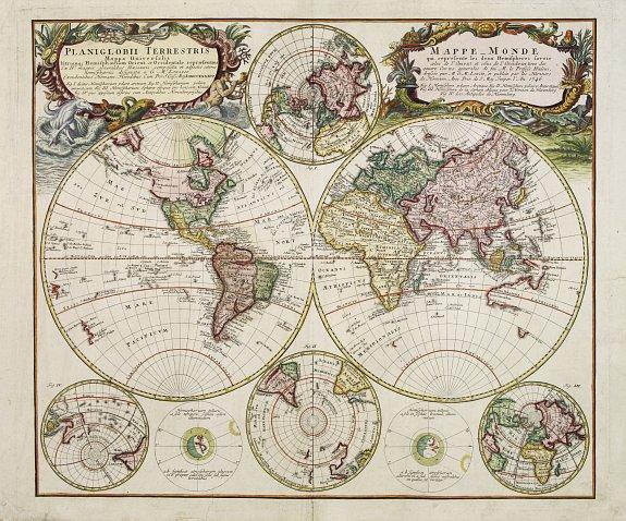HOMANN HEIRS. -  Planiglobii Terrestris - Mappe-Monde...
