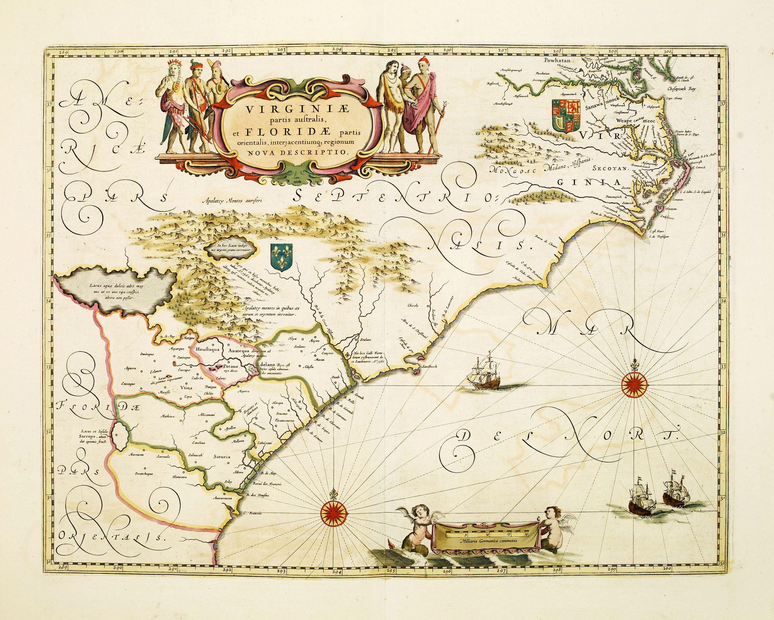 BLAEU, G. -  Virginiae Partis Australis, et Floridae Partis Orientalis.