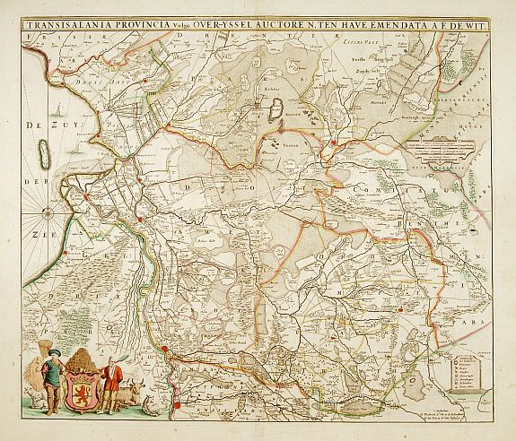 DE WIT, F.,  Transisalania provincia vulgo Over-Yssel auctore N.ten Have, antique map, old maps