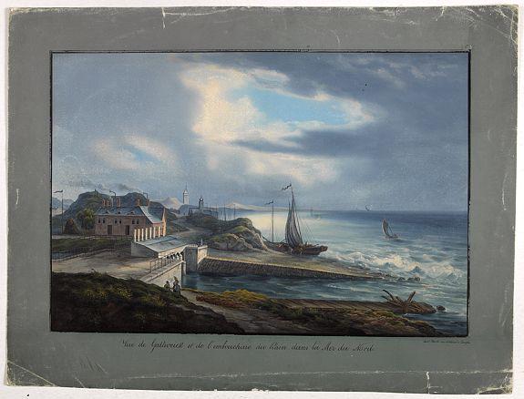BLEULER, L. -  Vue de Gattweick et de l'embouchure du Rhin, dans la Mer du Nord.