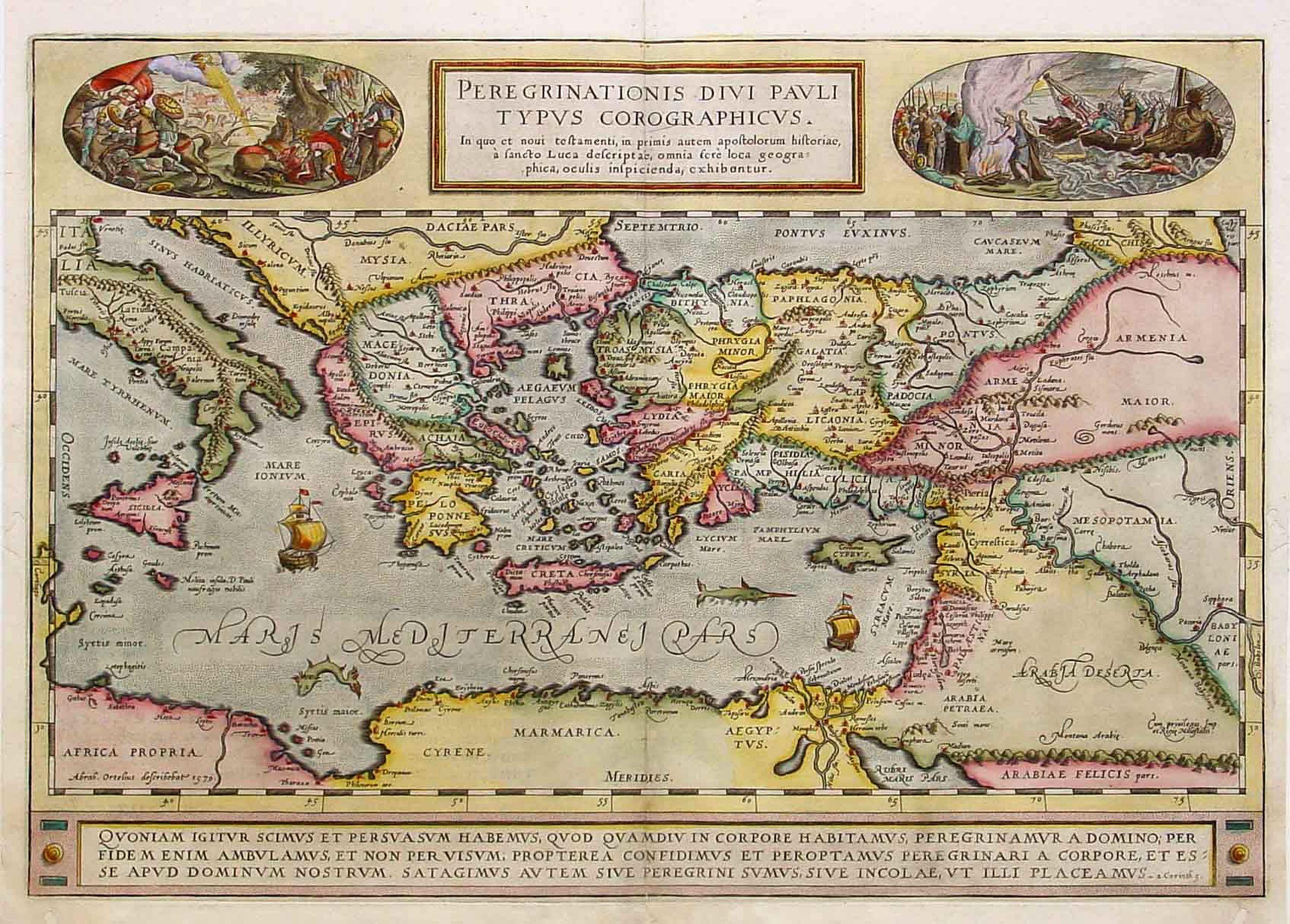 ORTELIUS, A. -  Peregrinationis Divi Pauli Typus corographicus. . .