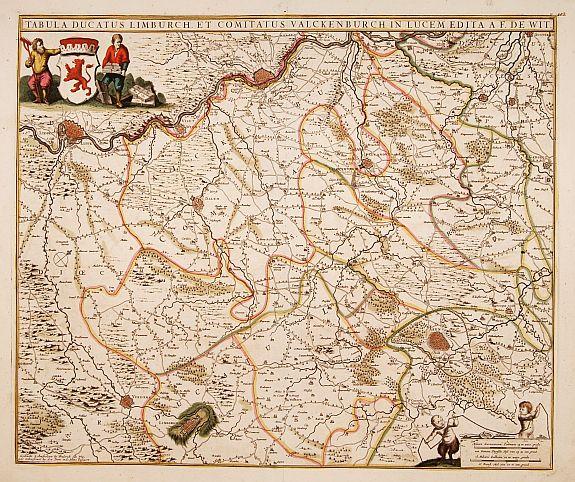 DE WIT, F. -  Tabula ducatus Limburch et comitatus Valckenburch. . .