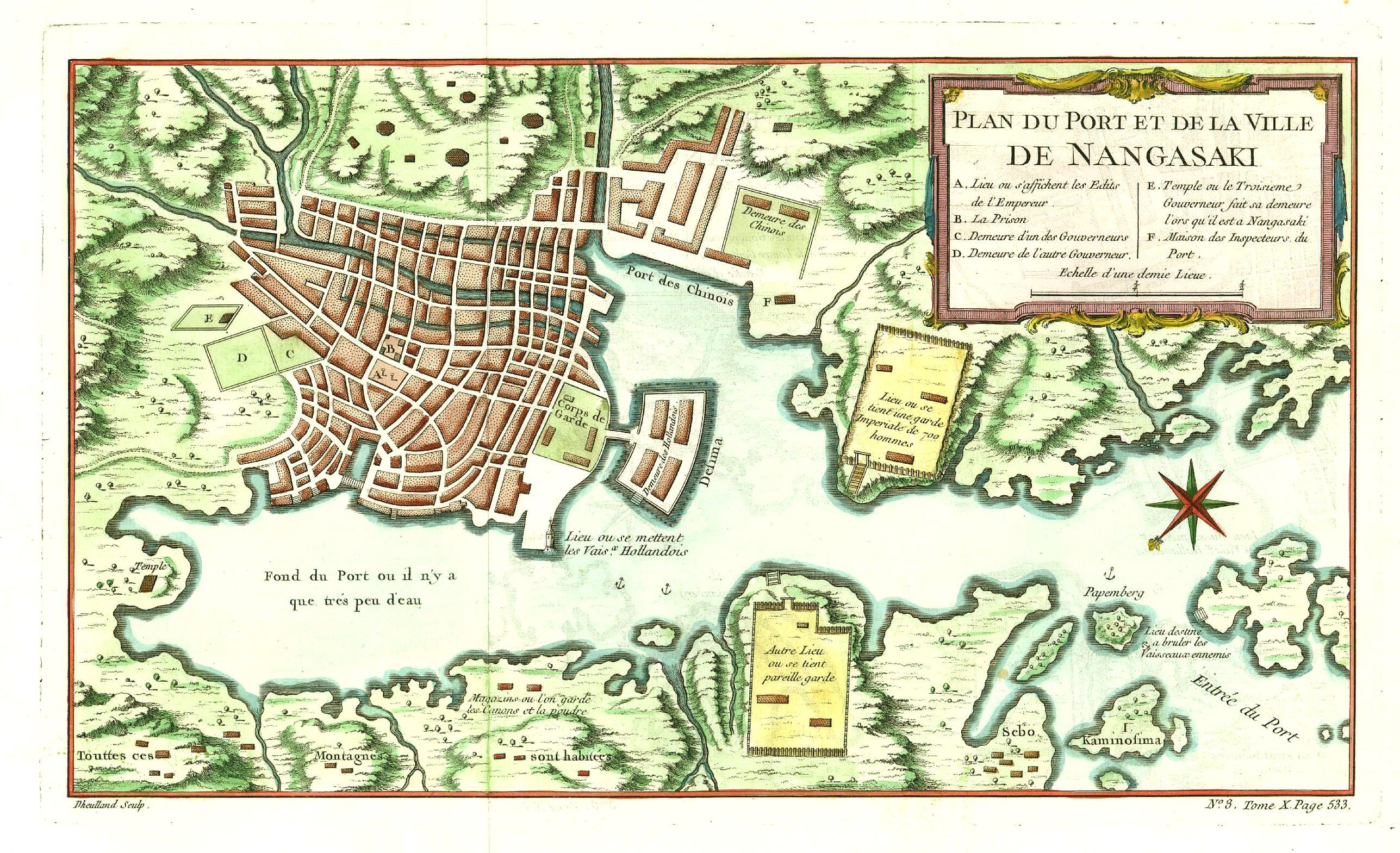 BELLIN, J.N. -  Plan du Port et de la Ville de Nangasaki.