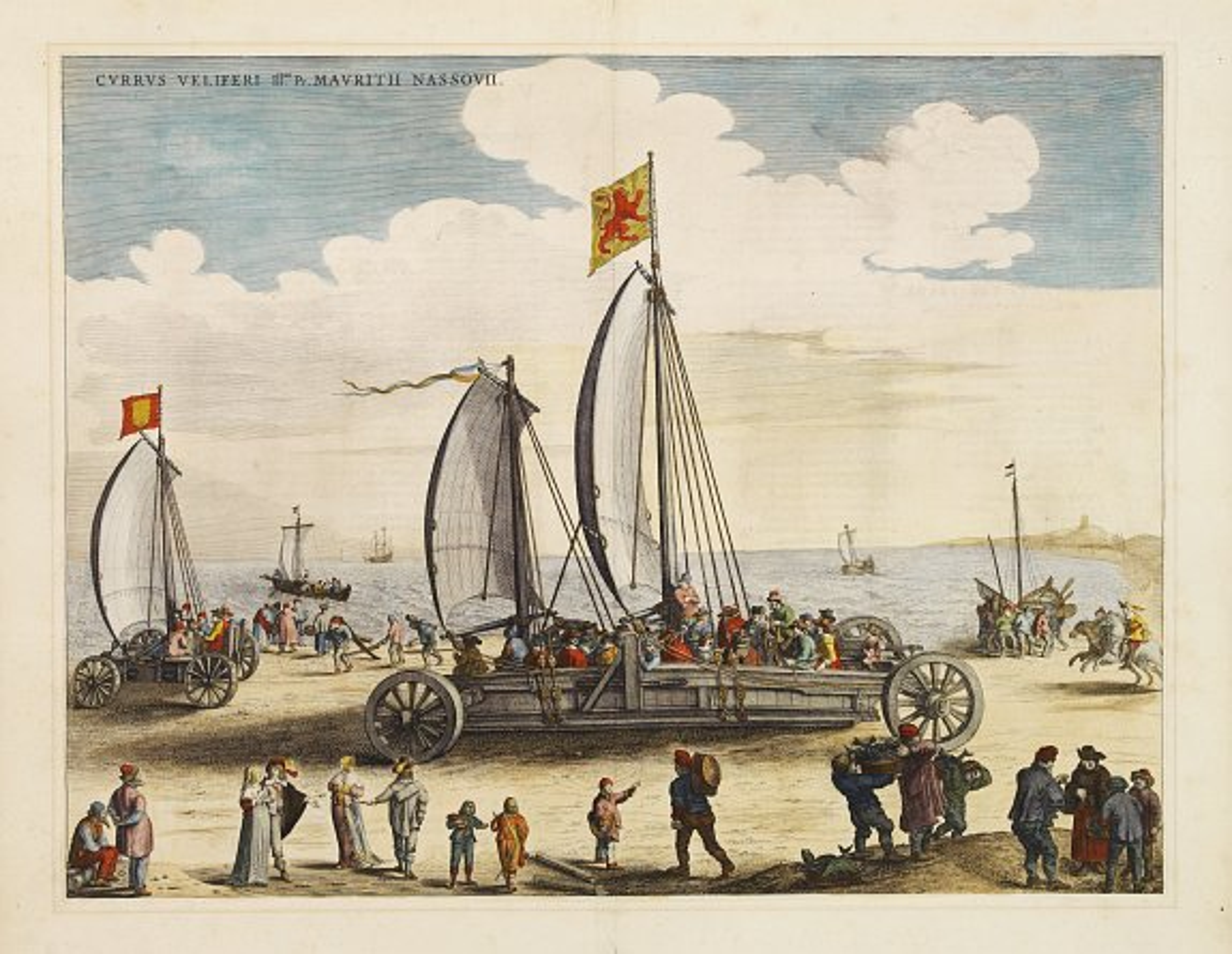 BLAEU, J. -  Currus Veliferi Illmi. Pr. Mauritii Nassouvii. (Prince Maurits' sailing-carriage, designed by Simon Stevin. )
