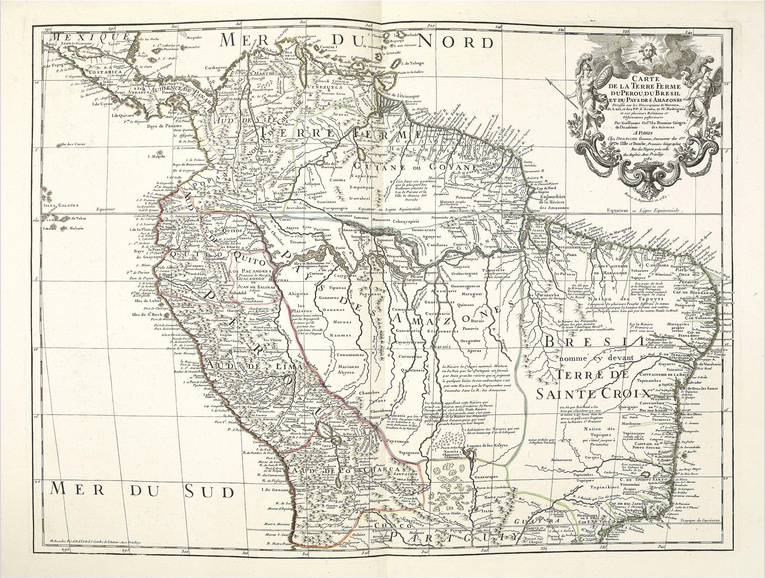 BUACHE, Ph. -  Carte de la Terre Ferme du Perou du Bresil et du Pays des Amazones.