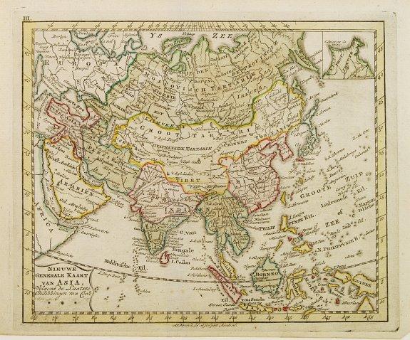 KREVELT, A. -  Nieuwe Generale Kaart van Asia.
