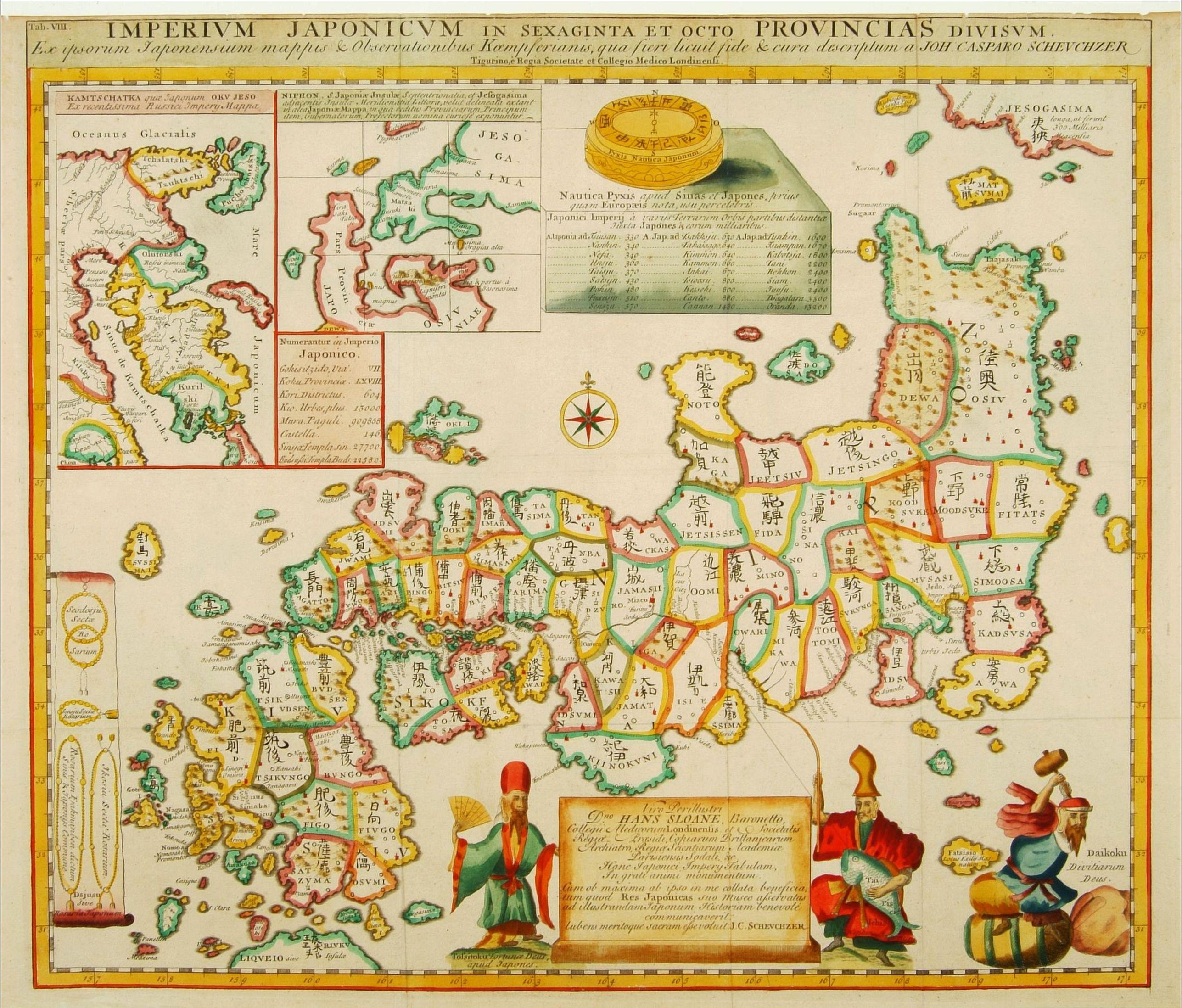 KAEMPFER, E. -  Imperium Japonicum in sexaginta et octo provincias divisum. Ex ipsorum Japonensium mappis & observationibus Kaempferianis. . .