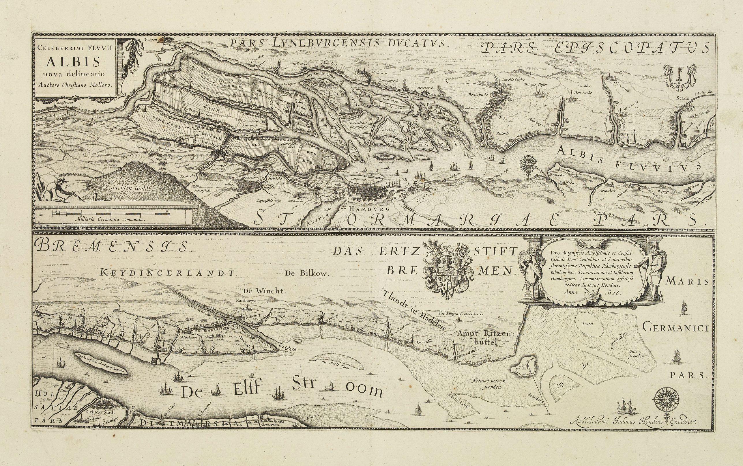 HONDIUS, J. -  Celeberrimi Fluvis Albis nova delineatio.