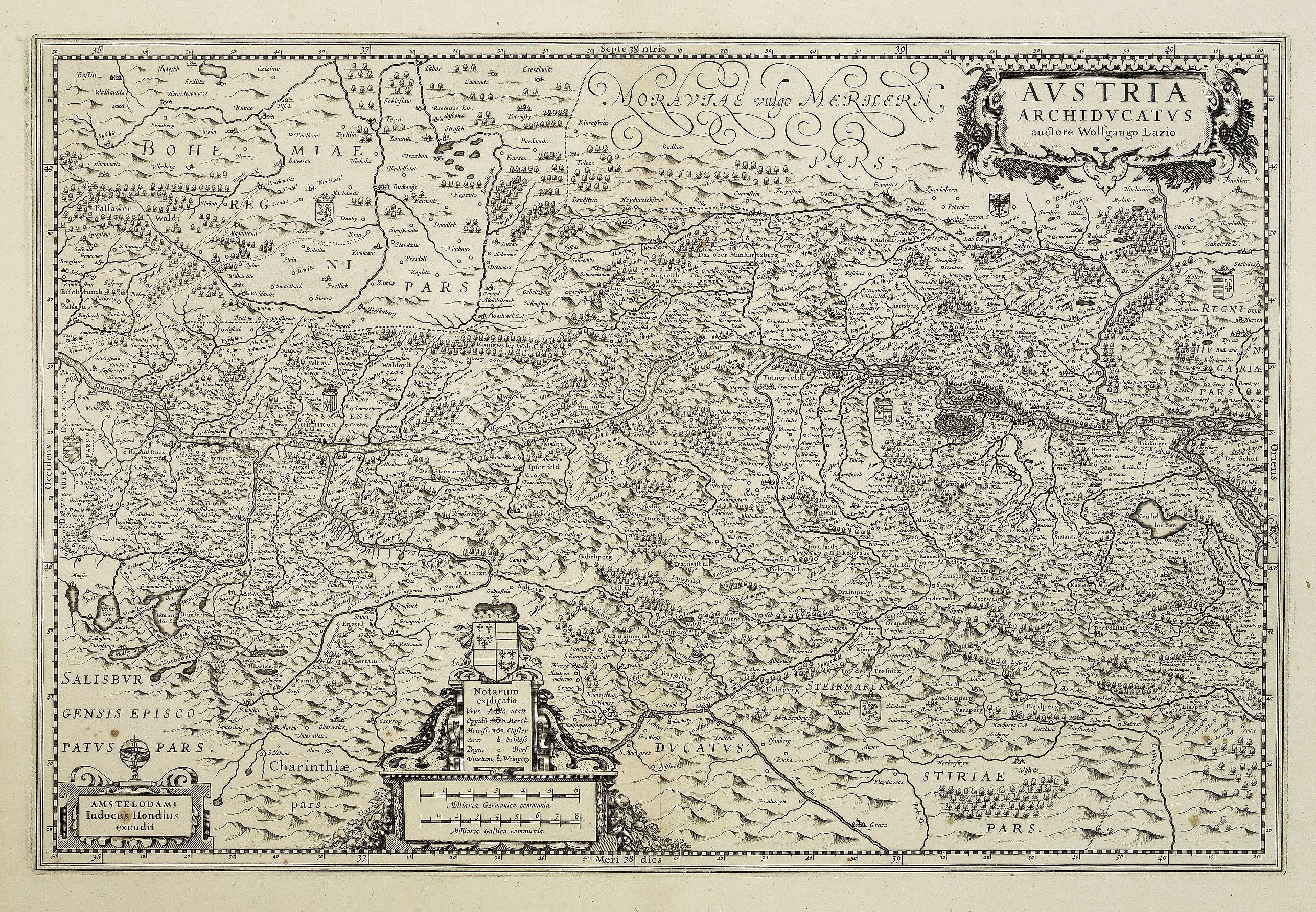 Old map by HONDIUS, J. - Austria Archiducatus auctore Wolfgango Lazio ...
