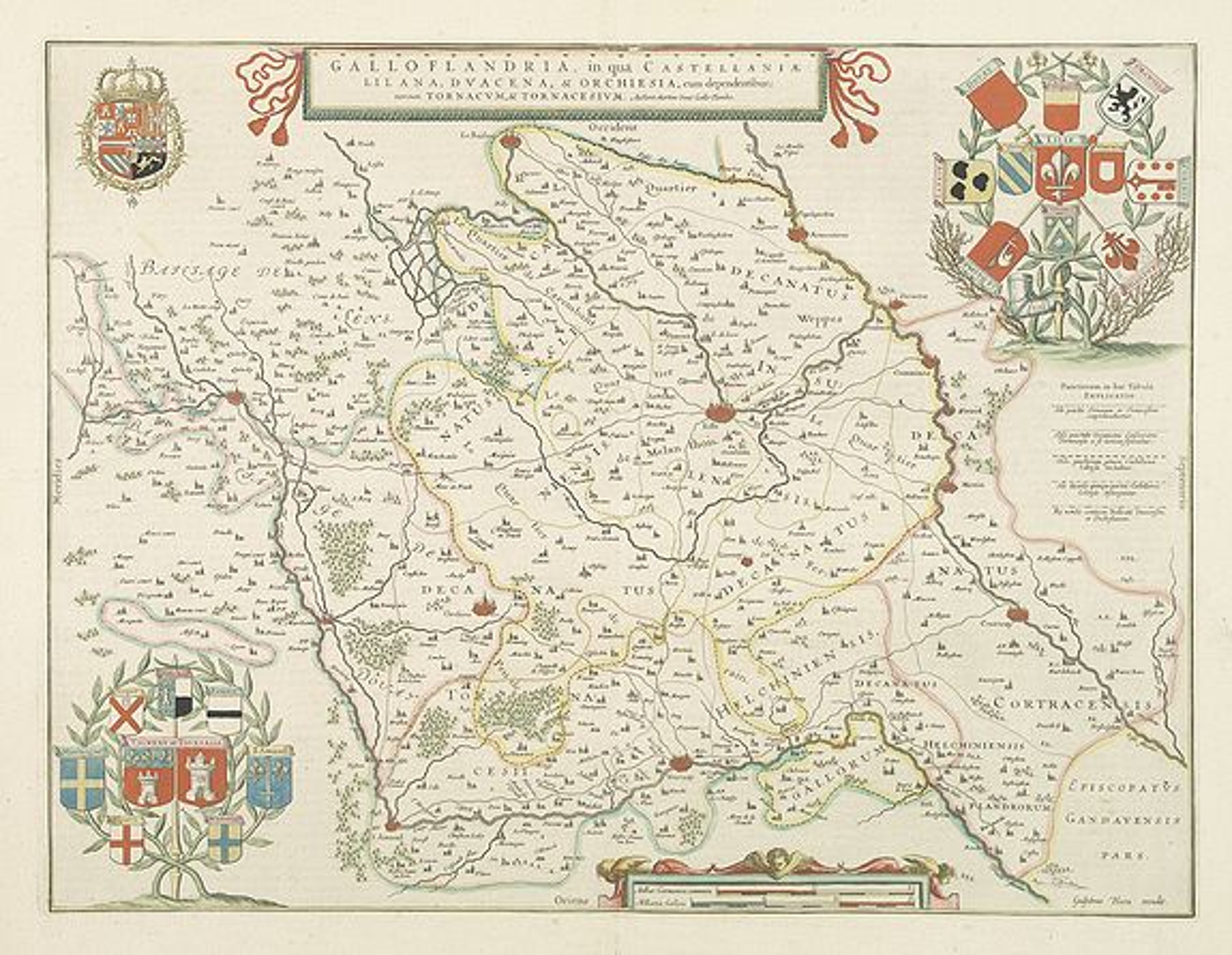 BLAEU, W. -  Galloflandria, in qua Castellaniae Lilana, duacena, et orchiesia, cum dependentibus ; necnon Tornacum, et Tornacesium / Auctore Martino Doué Gallo-Flandro