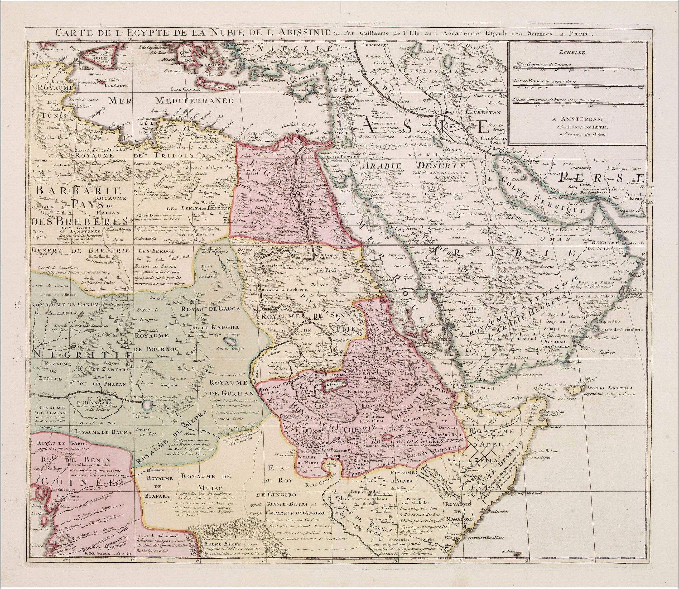 DE LETH, H. -  Carte de L'Egypte de la Nubie de L'Abissinie..