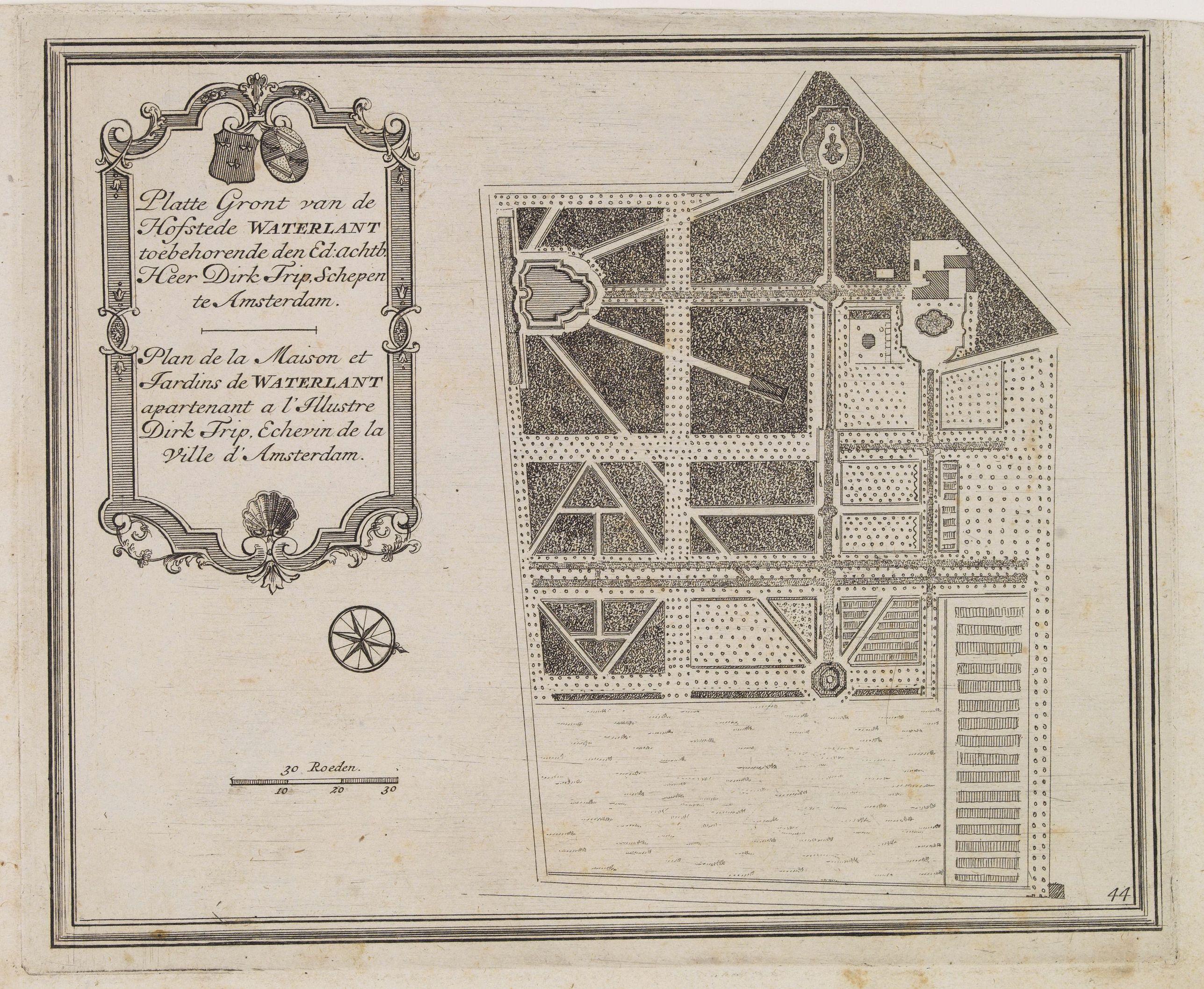 DE LETH, H. -  Platte Gront van de Hofstede Waterlant toebehorende den Ed. Achtb. Heer Dirk Trip Schepen te Amsterdam.