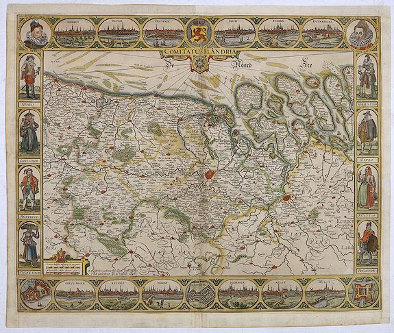 VISSCHER, C.J.,  Comitatus Flandria., antique map, old maps