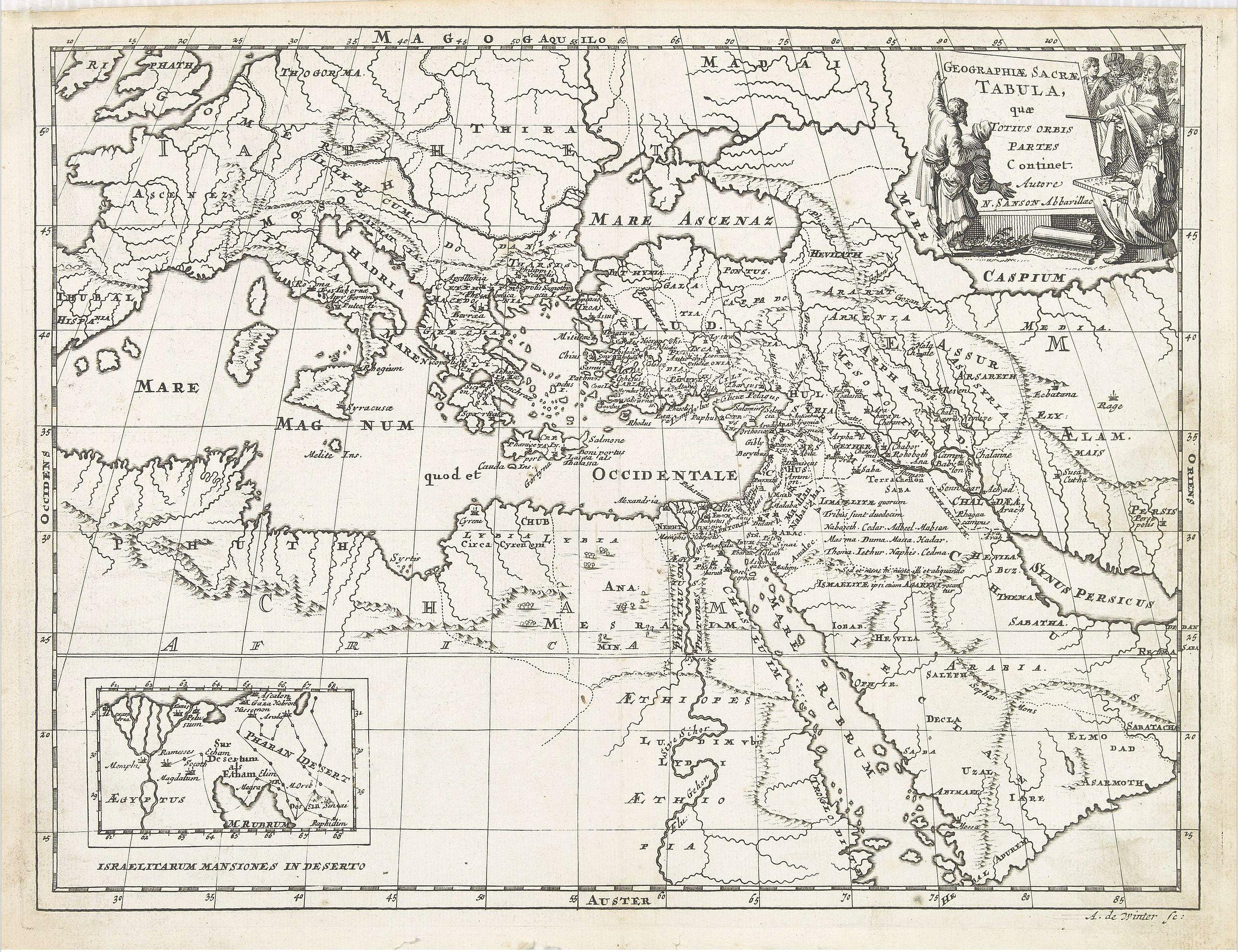 SANSON, N. -  Geographiae Sacrae Tabula, que totius orbis partes continent.