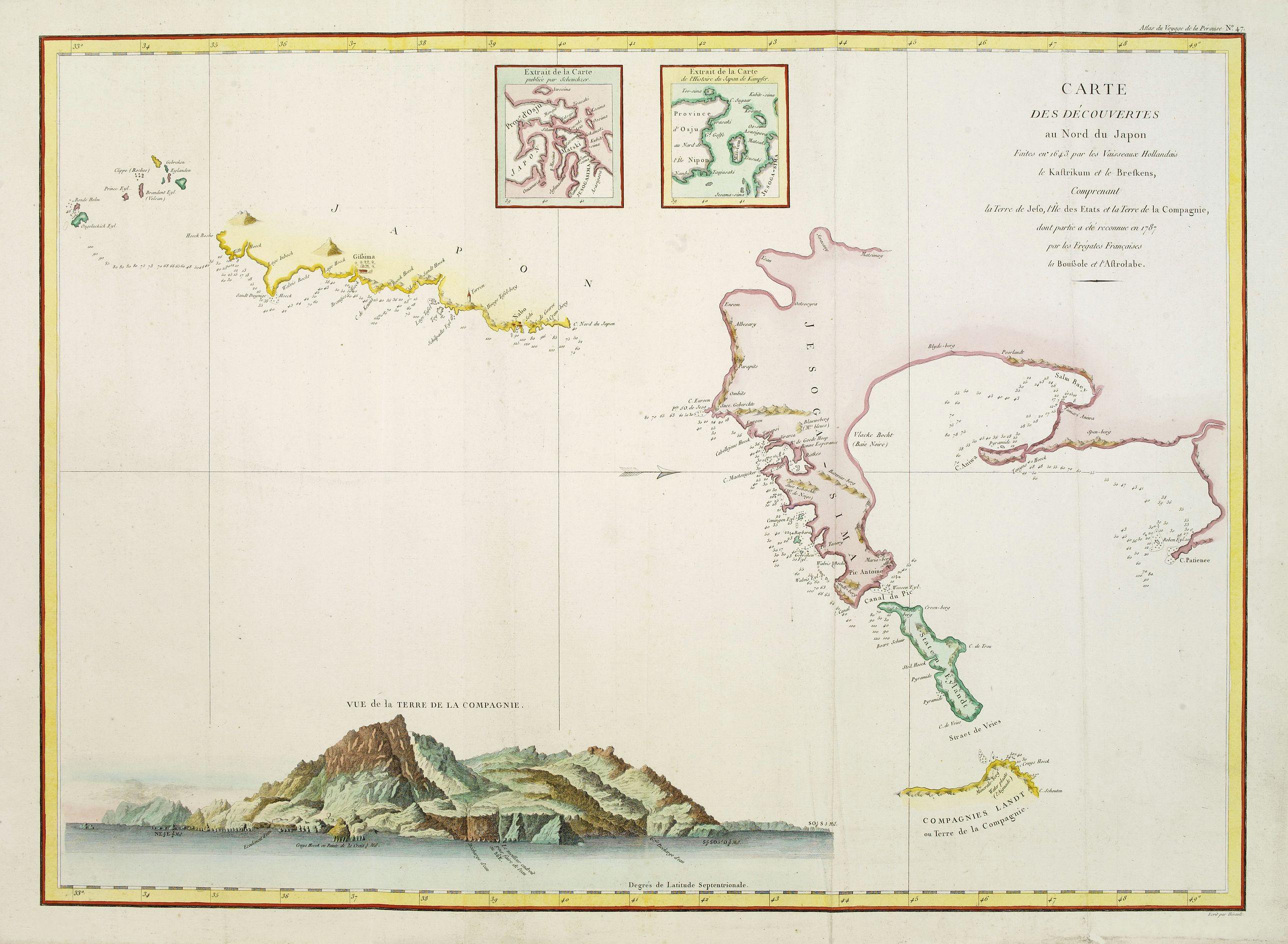 LA PEROUSE, J.F.G. -  Carte des découvertes au Nord du Japon.