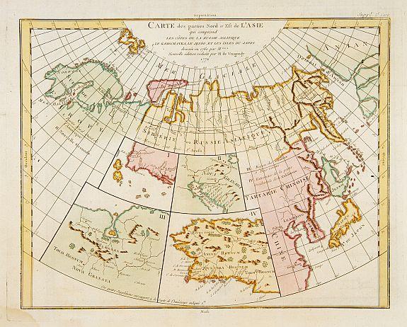 DIDEROT, D. -  Carte des parties Nord et est de l'Asie.. (5 maps on one sheet)