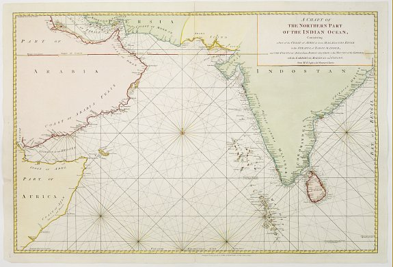 LAURIE & WHITTLE,  A chart of the northern part of the Indian Ocean.., antique map, old maps