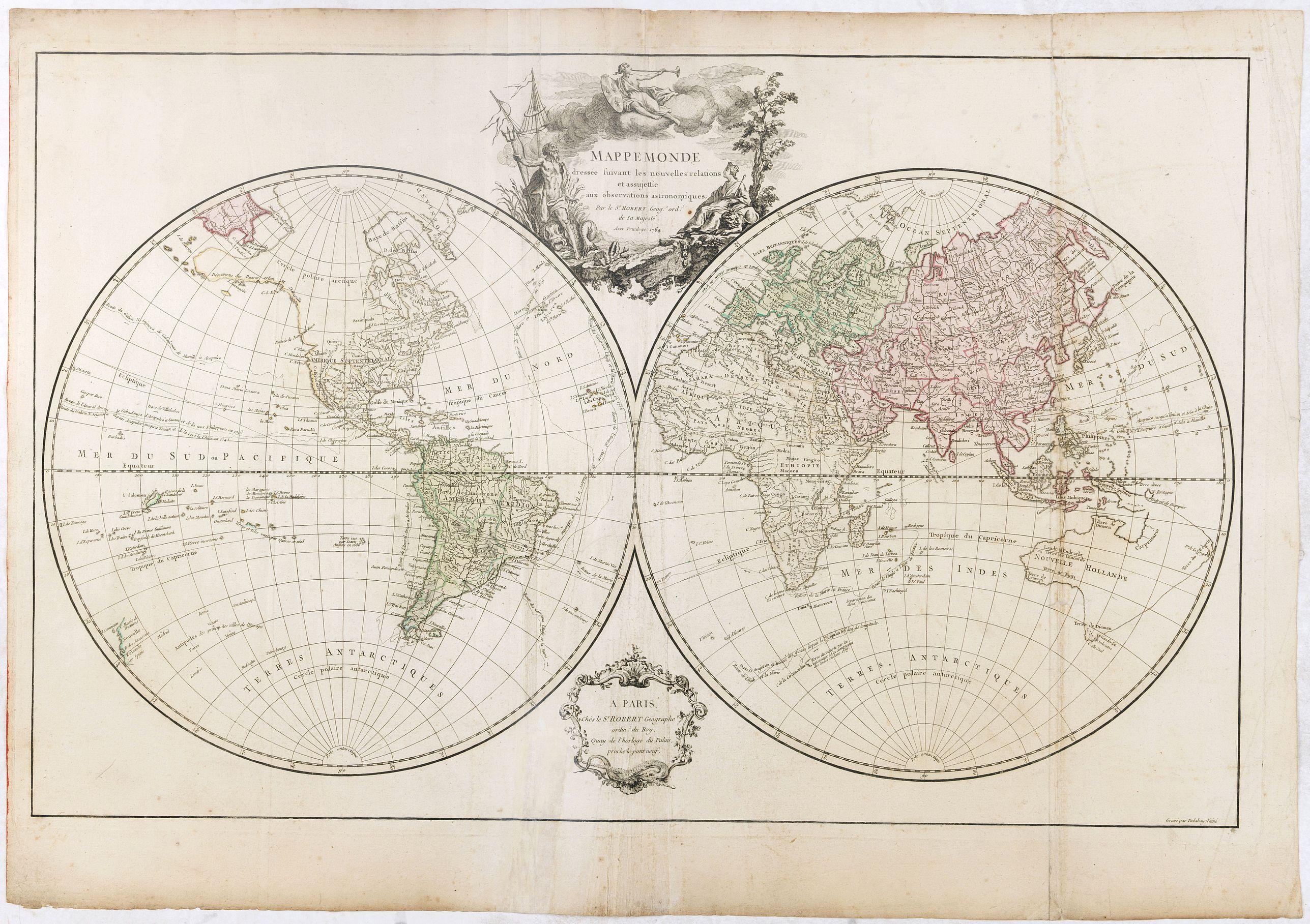DE VAUGONDY, R. -  Mappemonde dressée suivant les nouvelles relations et assujettie aux observations astronomiques Par le S. Robert de Vaugondy. . .
