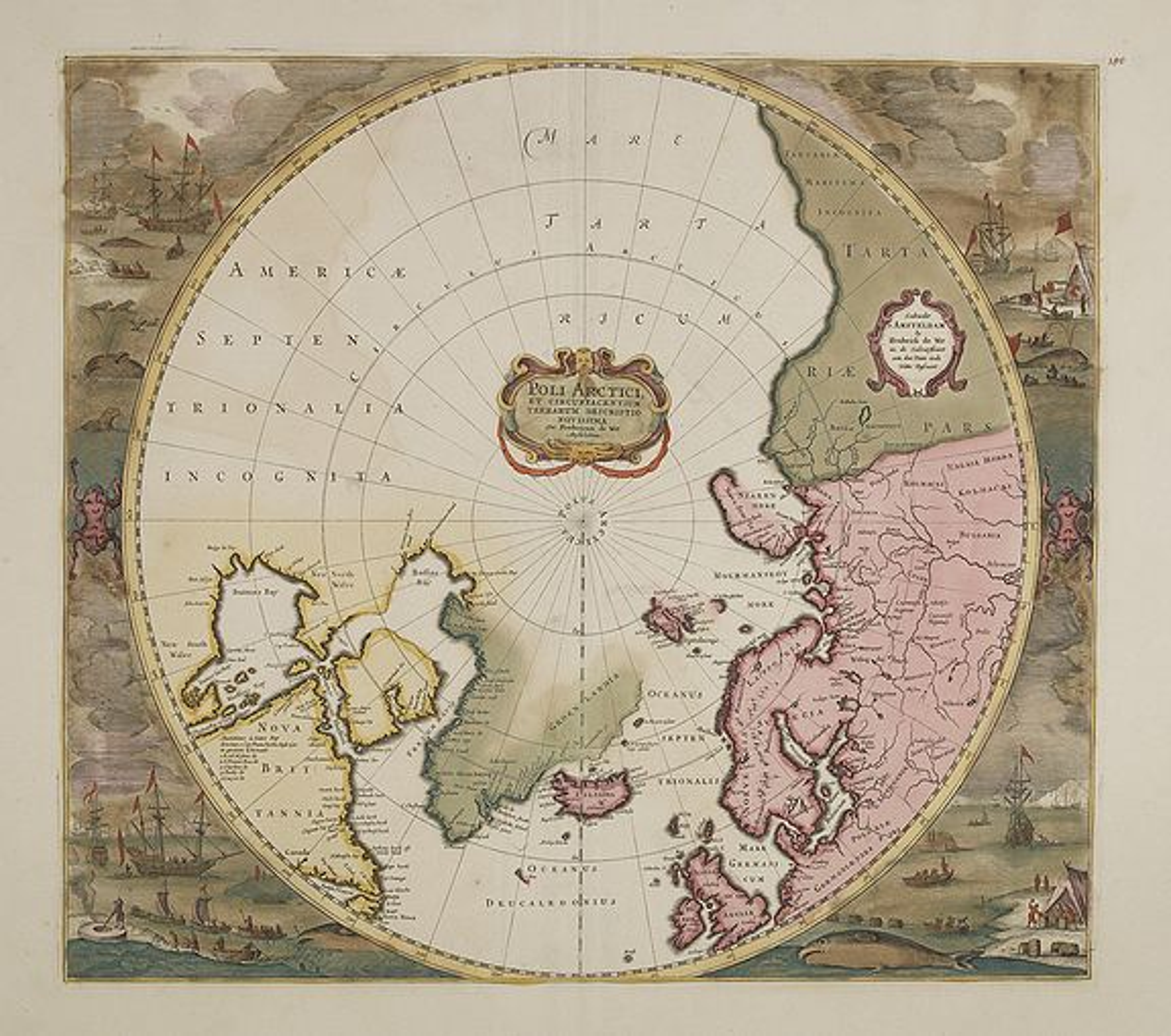 HONDIUS, H. / DE WIT, F. -  Poli Arctici, et circumiacentium terrarum descriptio novissima. . .