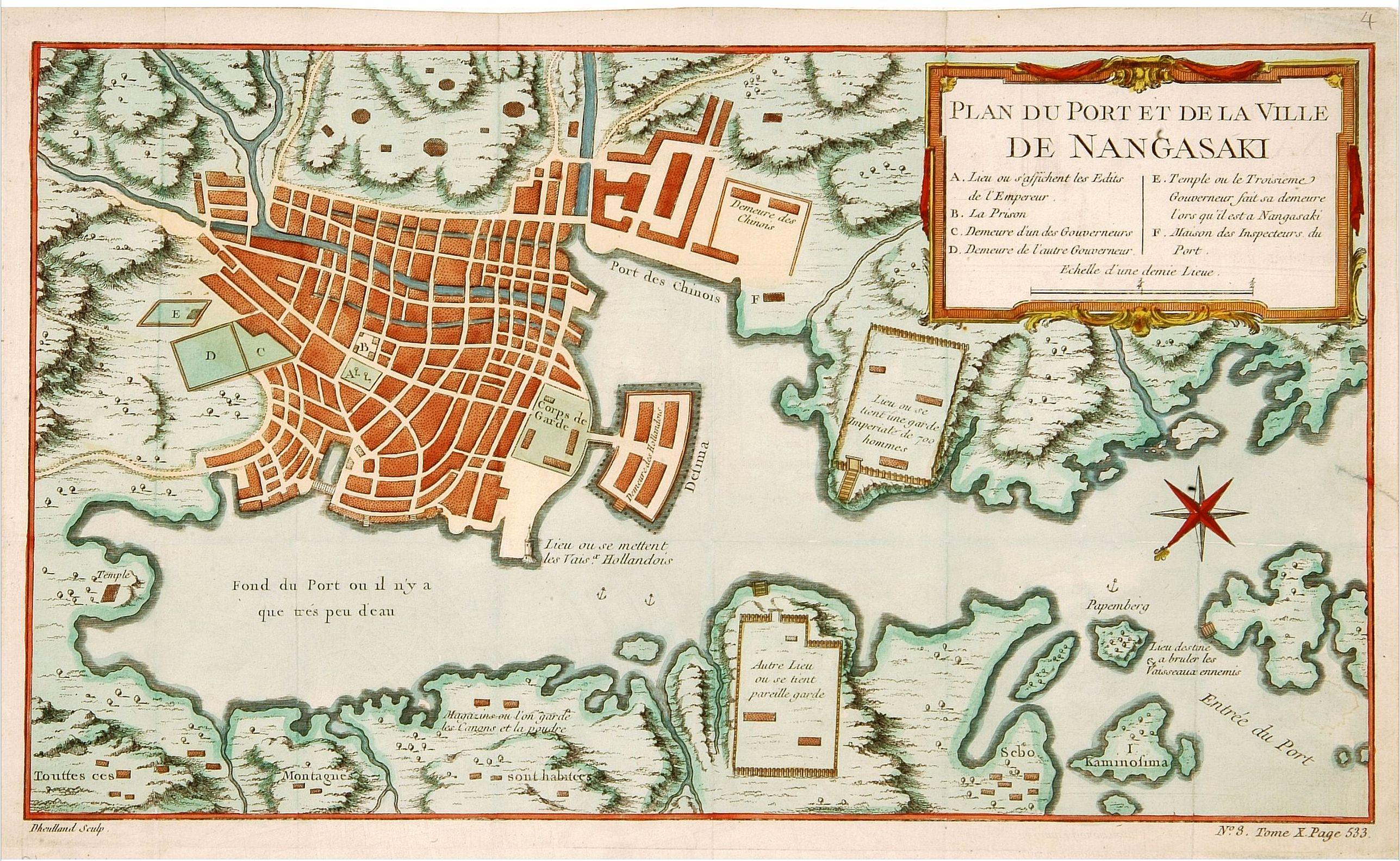 DHEULLAND -  Plan du port et de la ville de Nangasaki.