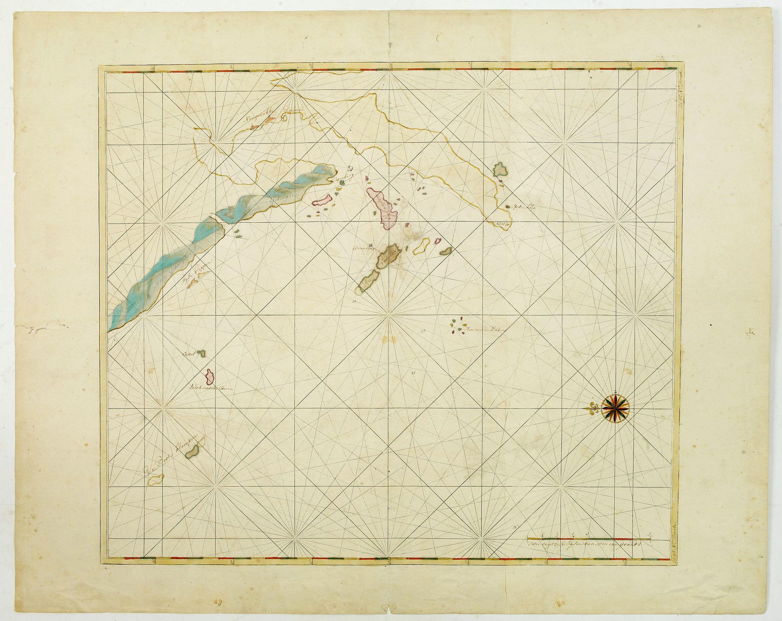 VAN KEULEN, J. -  Manuscript map of the Bay of Nagasaki.