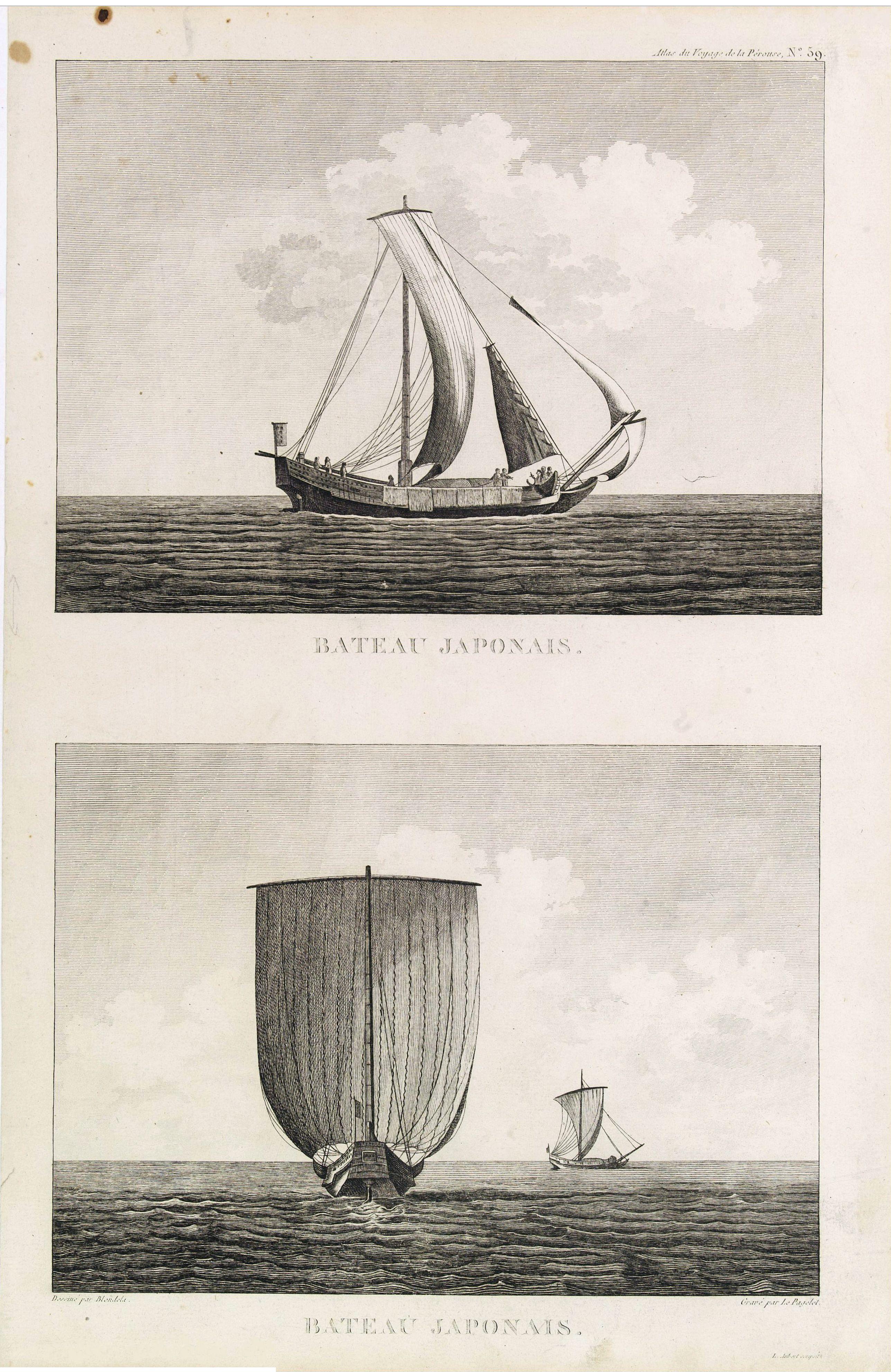 PEROUSE, DE LA -  Bateau Japonais. Two prints on one sheet.