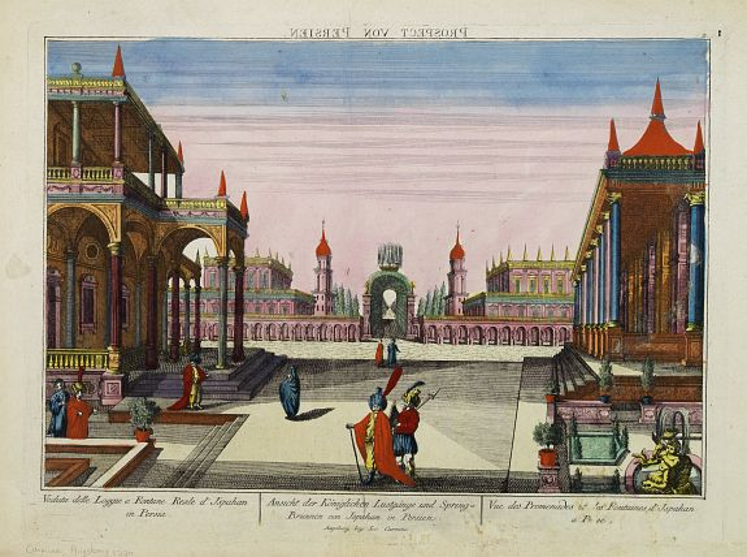 CARMINE, I. -  Vue des Promenades et les Fontaines d'Ispahan.