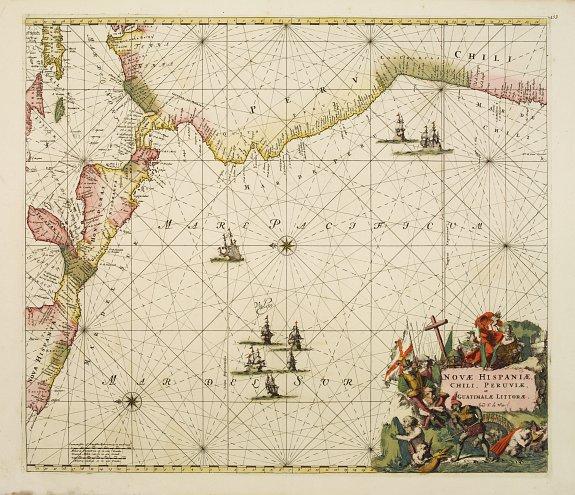 DE WIT, F -  Nova Hispaniae, Chili, Peruviae, et Guatimalae Littorae..