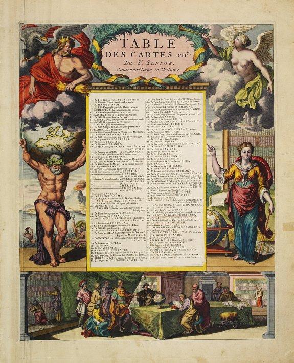 SANSON, N./MORTIER, P. -  Title page; Table Des Cartes etc: Du Sr. Sanson..