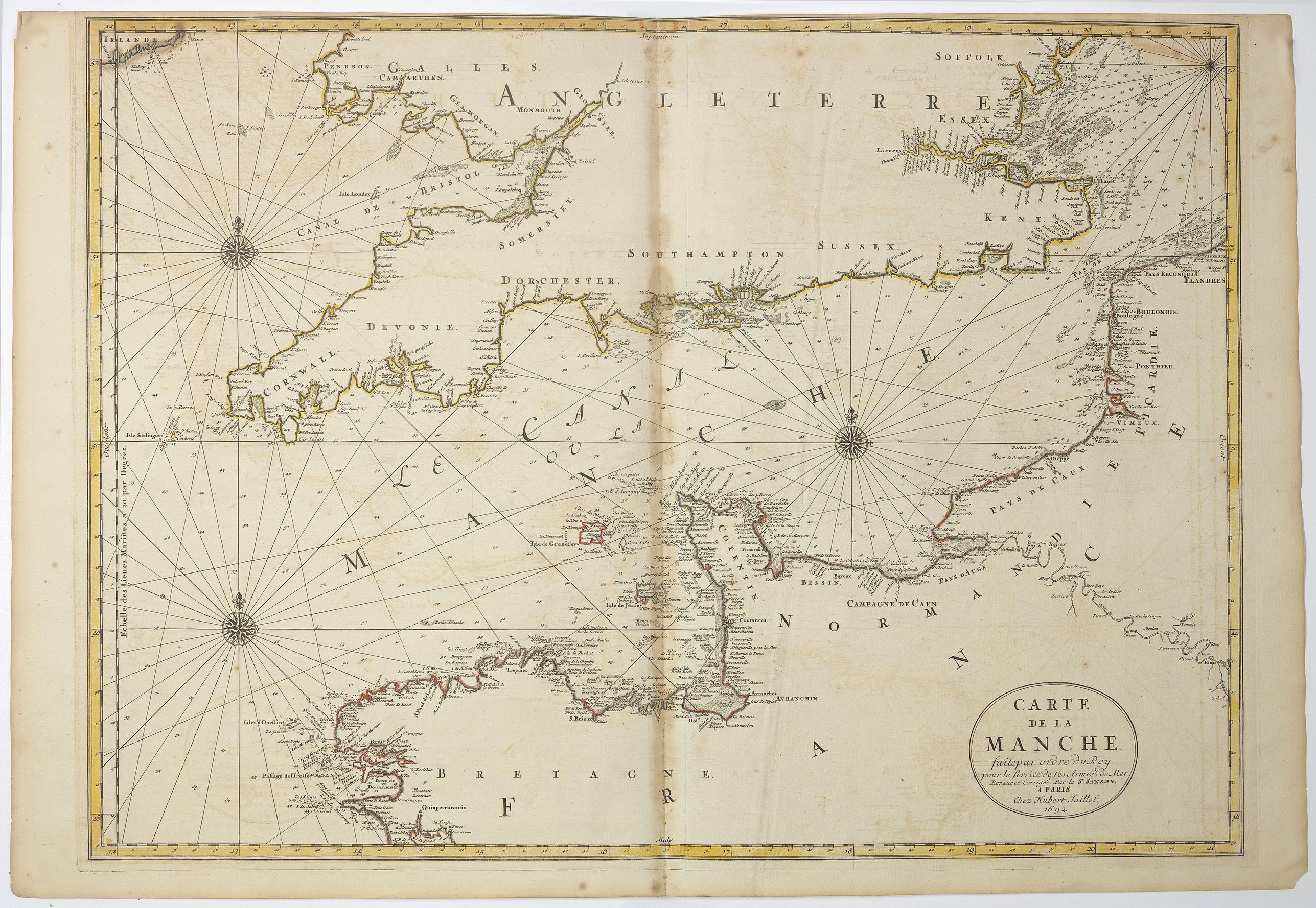 JAILLOT, H. -  Carte de la Manche. . .