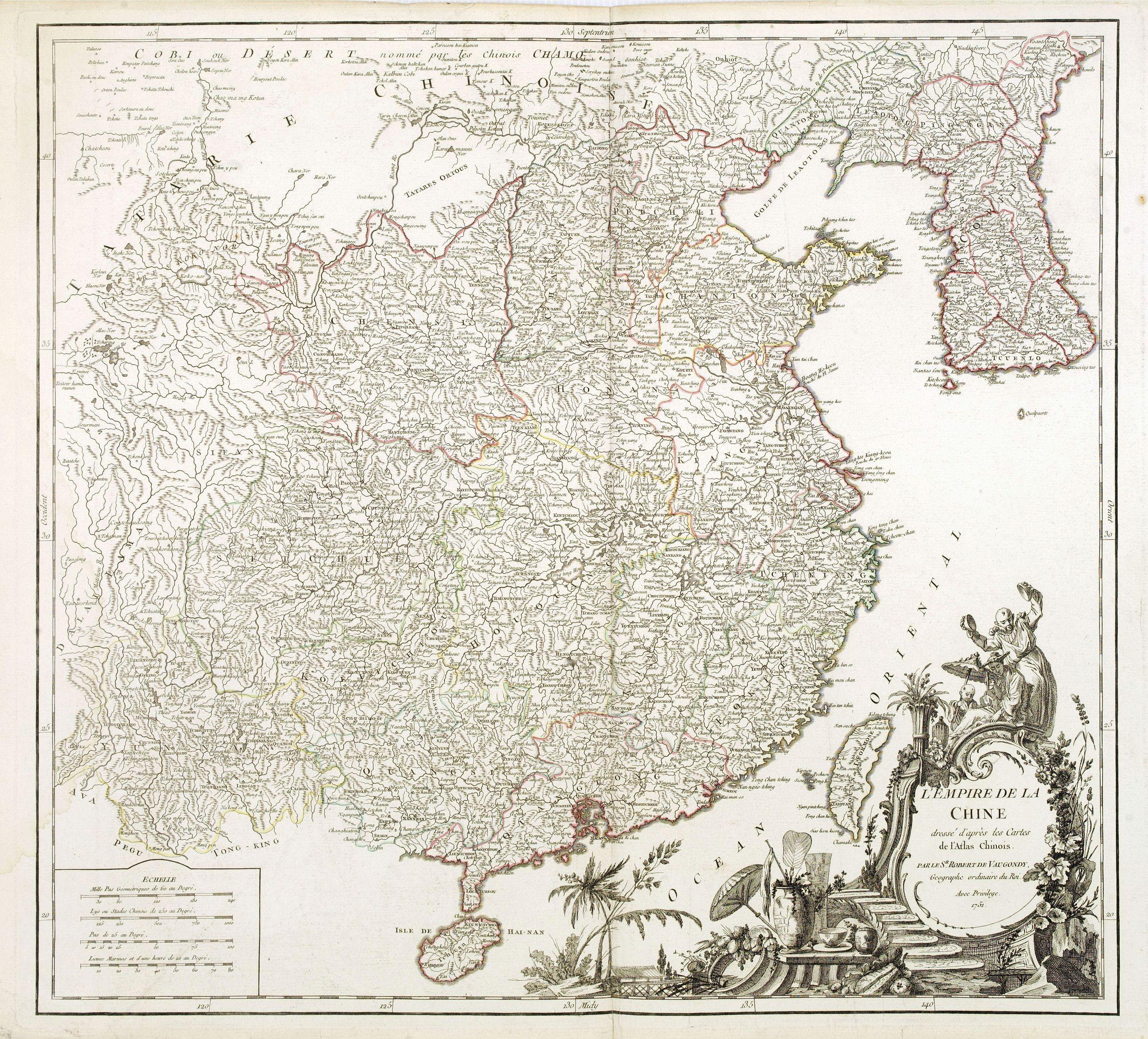 VAUGONDY, R. de -  L'Empire de la Chine dressé d'après les cartes de l'Atlas Chinois..