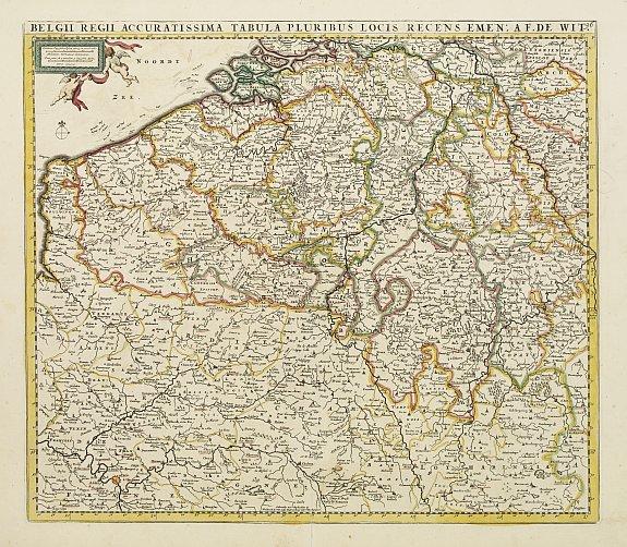 DE WIT, F -  Belgii Regii Accuratissima Tabula Pluribus Locis...