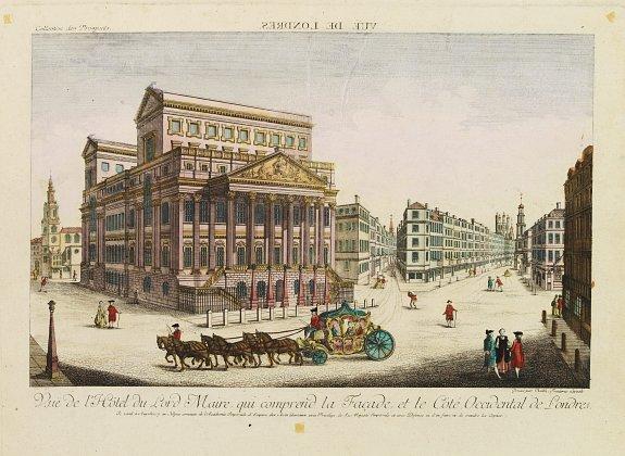 ACADEMIE -  Vue de l'Hotel du Lord Maire, qui comprend.. (London)