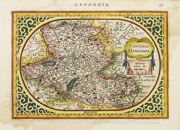 GOOS, A.,  Comitatus Hannonia., antique map, old maps