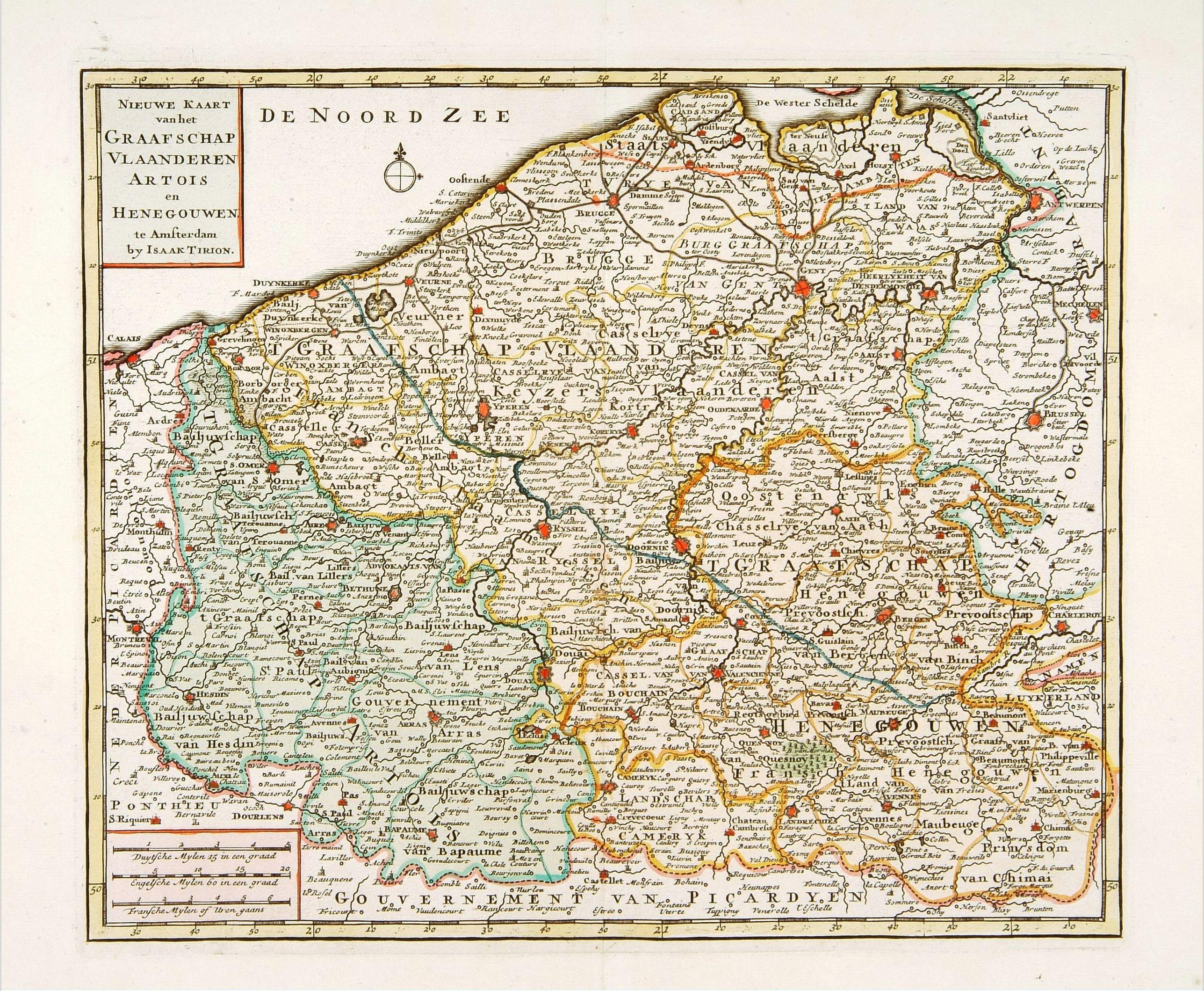 TIRION, I. -  Nieuwe kaart van het Graafschap Vlaanderen, Artois. . .