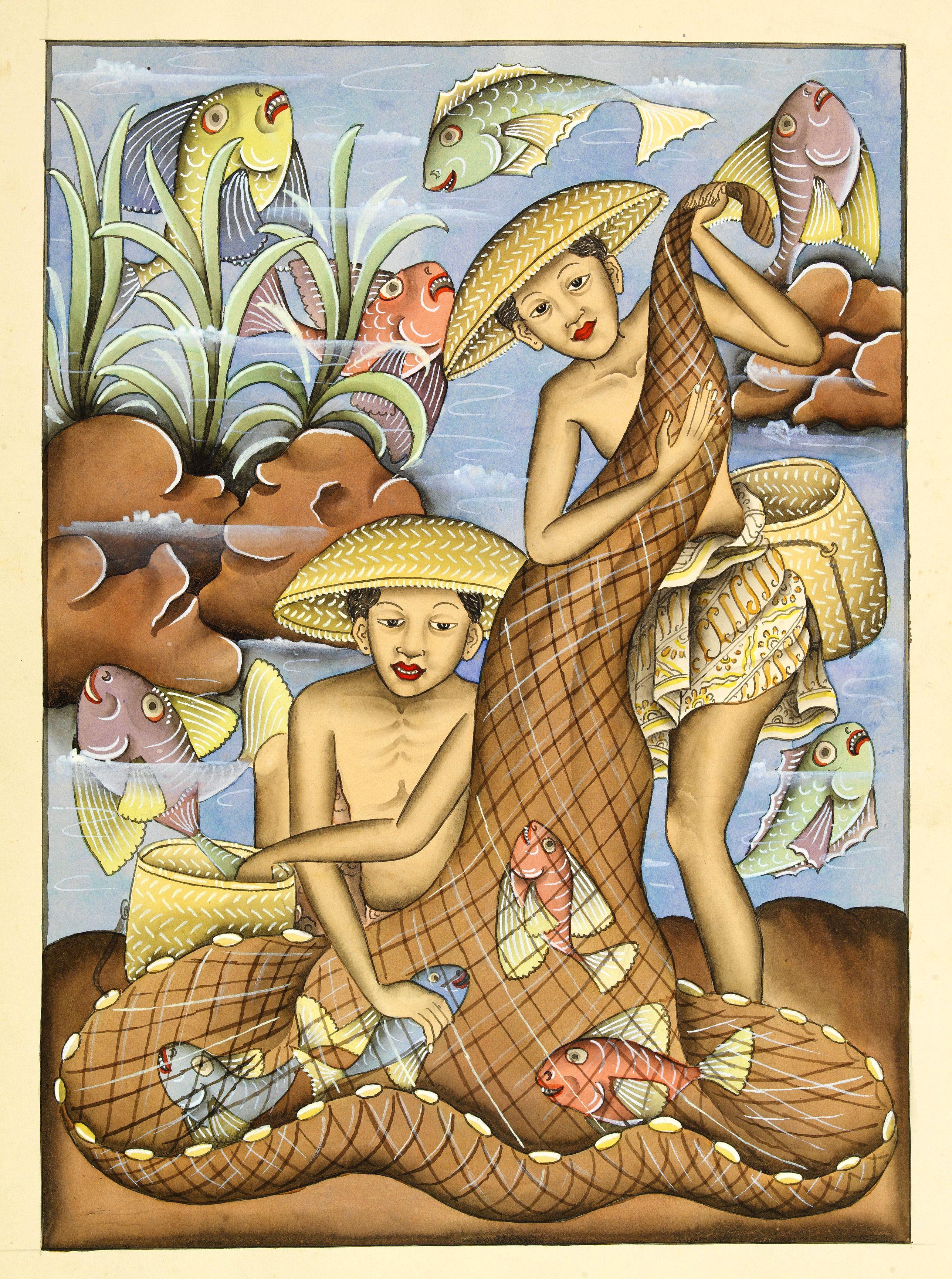 ANONYMOUS -  Balinees watercolour on paper, fishermen.