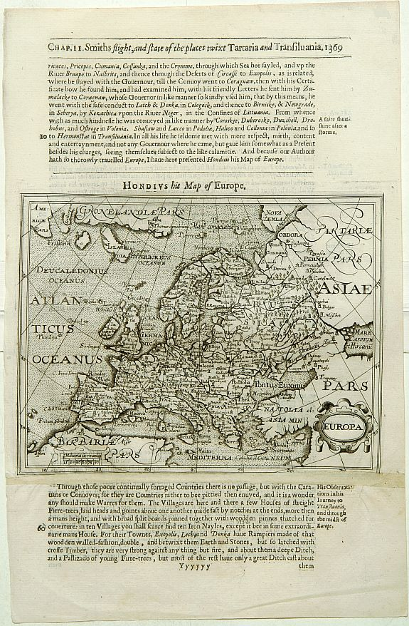 HONDIUS, J. / PURCHAS, S.,  Europa., antique map, old maps