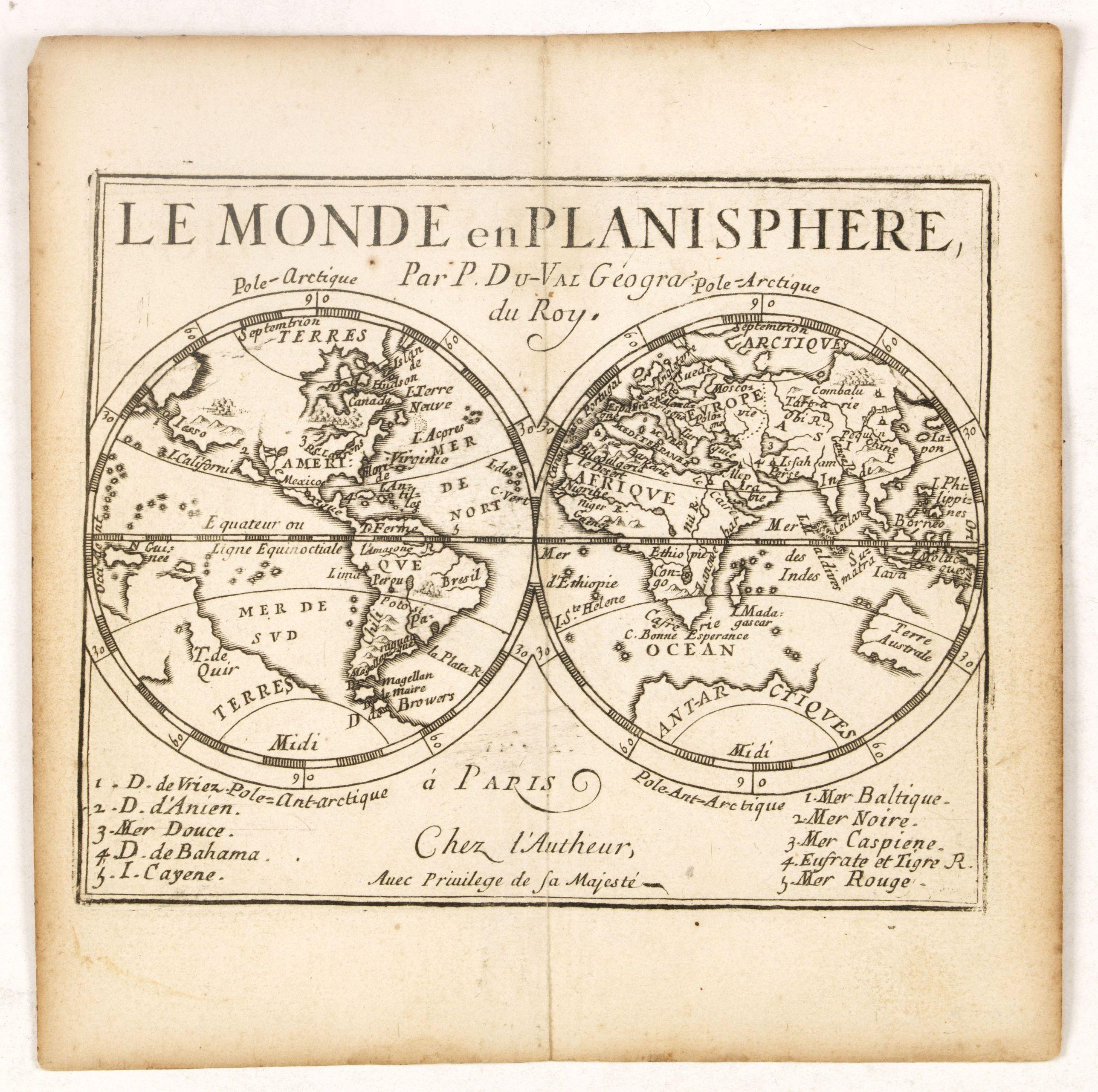 DU VAL, P. -  Le Monde en Planisphere. . .