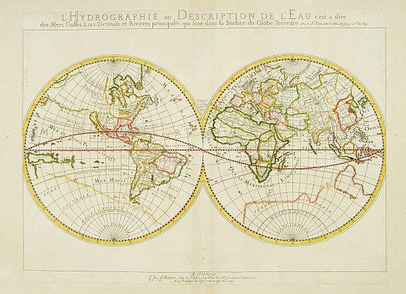SANSON, N. -  L'Hydrographie ..la Surface du Globe Terrestre.