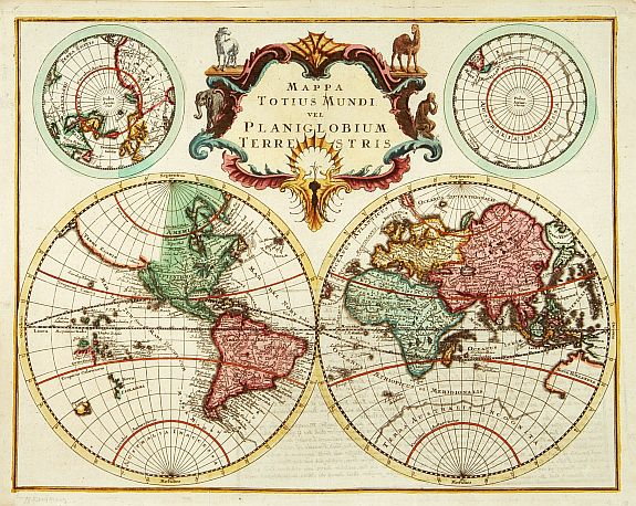 ANONYMOUS -  Mappa Totius Mundi vel Planiglobium Terrestris.