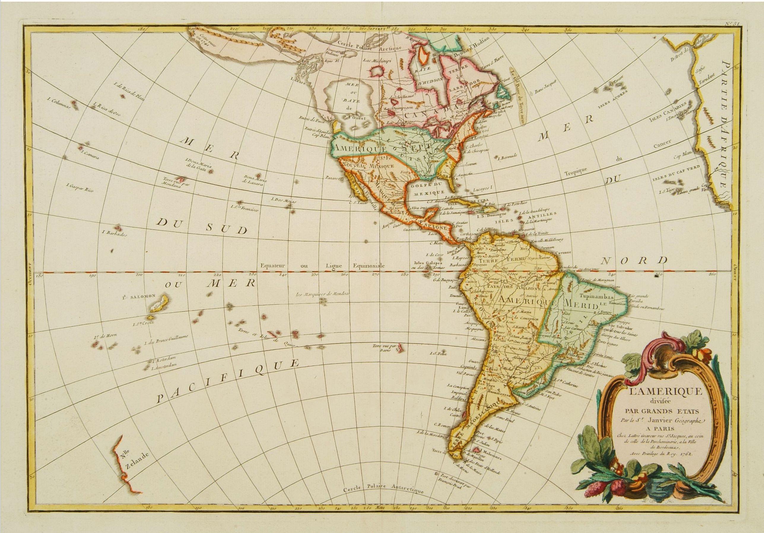 JANVIER, Sr. -  L'Amerique divisée Pars Grands Etats. . .