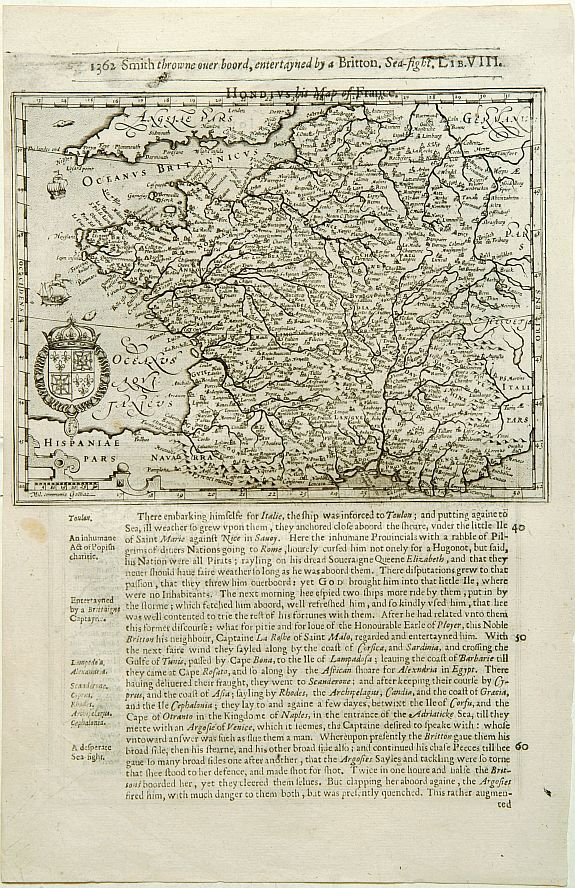 HONDIUS, J. / PURCHAS, S.,  France (No title), antique map, old maps