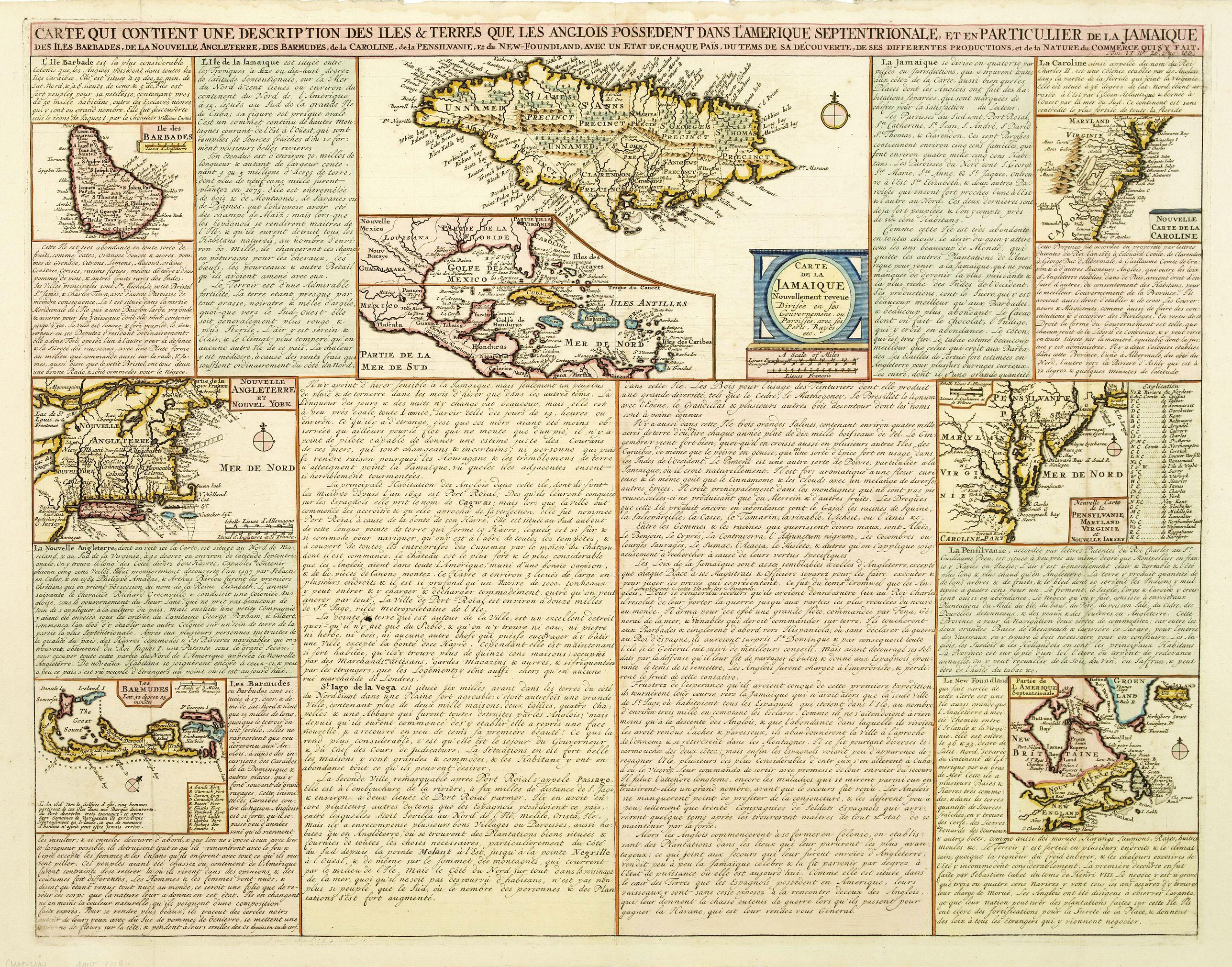 CHATELAIN, H. -  Carte qui contient..Iles & Terres..L'Amerique..Jamaique..