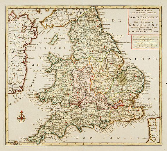 TIRION, I. -  Nieuwe kaart van 'T zuider Gedeelte van Groot Brittannie. . .