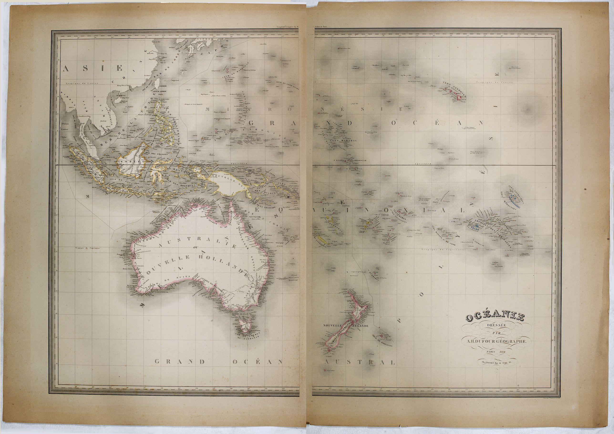 BASSET -  Océanie dressée par A.H. Dufour géographe.