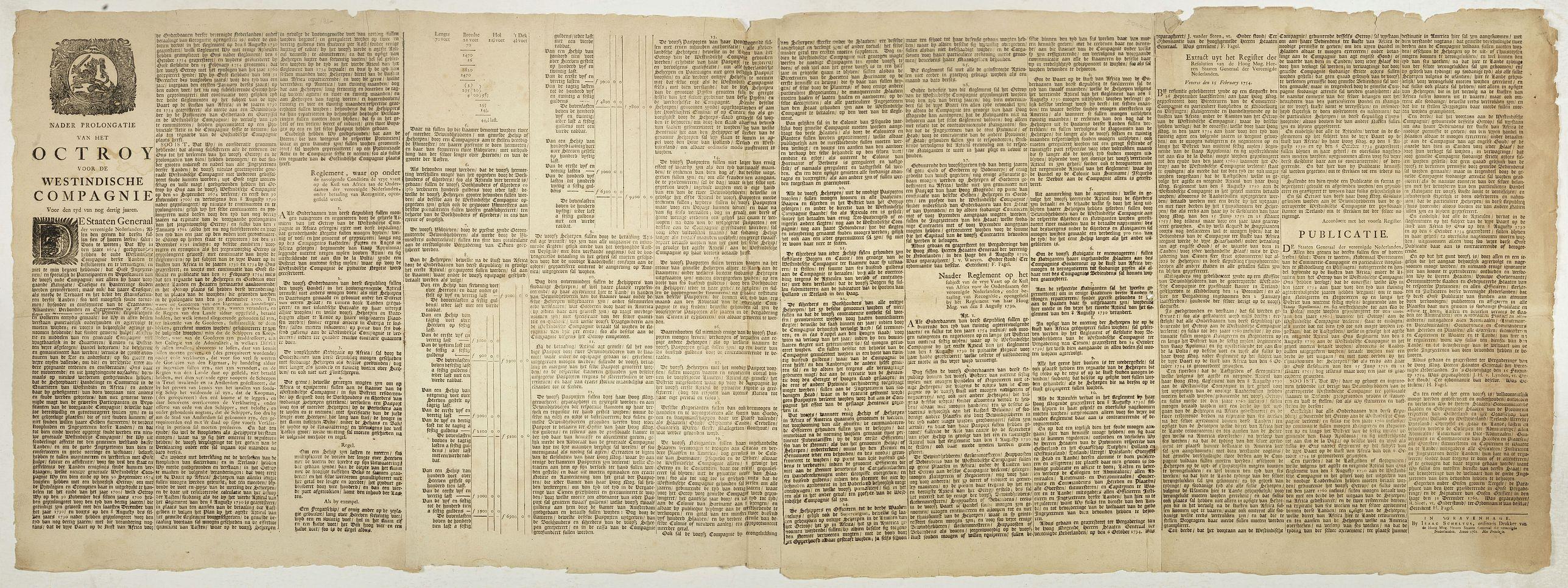 SCHELTUS, I. -  Nader prolongatie van het Octroy voor de Westindische Compagnie voor den tyd van nog dertig jaaren. . .