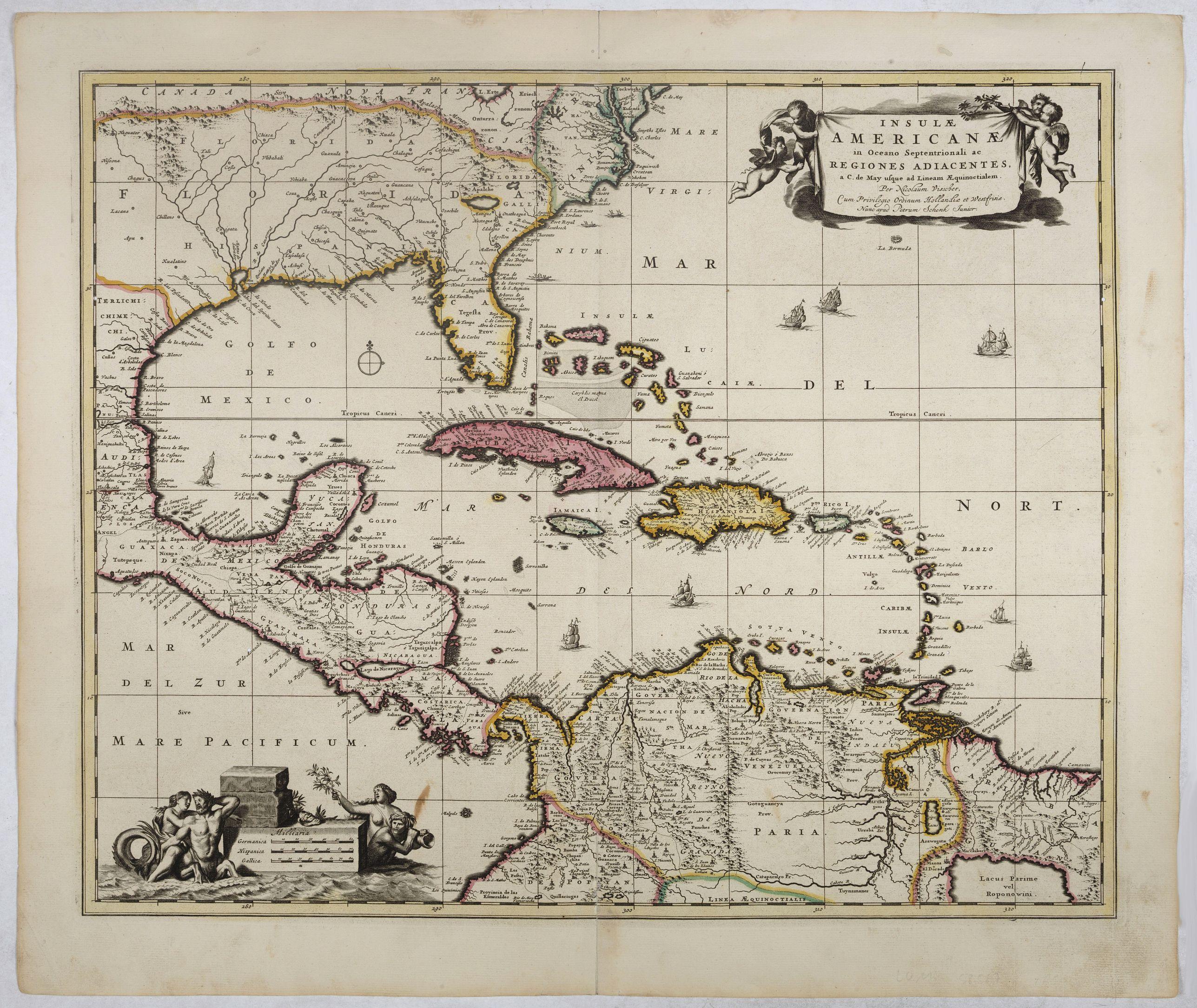 VISSCHER, N./ SCHENK, P. -  Insulae Americanae in Oceano Septentrionali..
