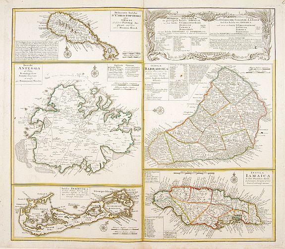 HOMANN HEIRS. -  Dominia Anglorum in praecipuis Insulis Americae ut sunt Insula S. Christopheri, Antegoa, Iamaica, Barbados nec non Insula Bermudes vel Sommers . . .