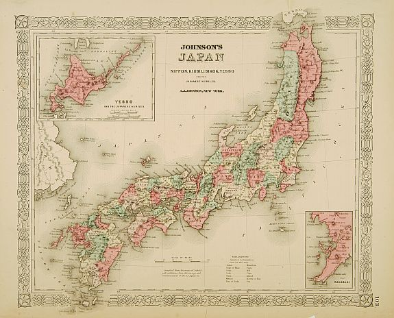 JOHNSON, A, J.,  Johnson's Japan Nippon, Kiusiu, Sikok, Yesso.., antique map, old maps